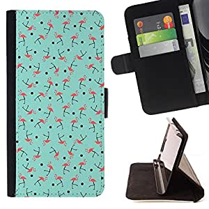 """For Sony Xperia Z5 (5.2 Inch) / Xperia Z5 Dual (Not for Z5 Premium 5.5 Inch),S-type Patrón del trullo rosado del pájaro verde"""" - Dibujo PU billetera de cuero Funda Case Caso de la piel de la bolsa protectora"""