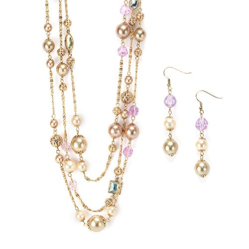 "LookLove Womens Jewelry Imitation Pearl and Beaded 70"" Gold Plated Necklace and Earrings Set"