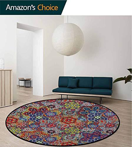 - RUGSMAT Batik Modern Flannel Microfiber Non-Slip Machine Round Area Rug,Vintage Design Non-Skid Bath Mat Living Room/Bedroom Carpet Diameter-63