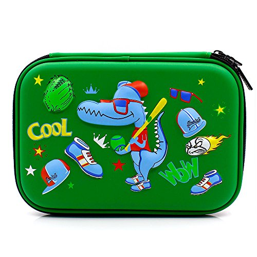 Cool Baseball Boys Dinosaur Pencil Case - Large Capacity Hardtop Pencil Box with Compartments - Colored Pencil Holder School Supply Organizer for Kids Girls Toddlers Children (Green)
