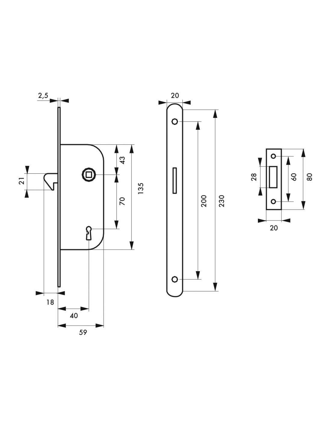 Thirard Serrure encastrable /à mentonnet p/êne dormant 1//2 tour v//br pour porte coulissante