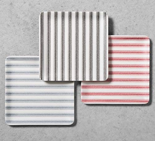 Hearth and Hand with Magnolia Set of 3 Serving Trays Appetizer Plates Striped Picnic Melamine