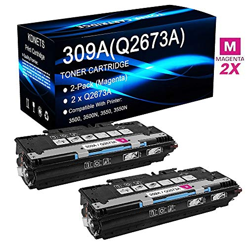 2-Pack (Magenta) Compatible Color Laserjet 3500 3500N 3550 3550N Printer Toner Cartridge High Yield Replacement for HP 309A Q2673A Laser Toner Cartridge, by KDNETS