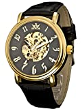 SEWOR Men's Dress Mechanical Hand Wind Gold Movement Leather Wrist Watch Three Attractive Styles(Brown Gift Box) (Simple Classic)