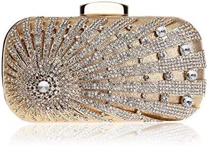 ウィメンズダイヤモンドイブニングトート、クラッチバッグ、バンケットウォレット、ショルダーバッグ、ハンドバッグ、19 * 9.5 * 5.5 Cm(カラー:ゴールド) 美しいファッション (Color : Gold)
