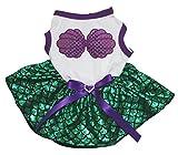 Petitebella Purple Shell White Shirt Green Mermaid Tutu Puppy Dog Dress (Medium)