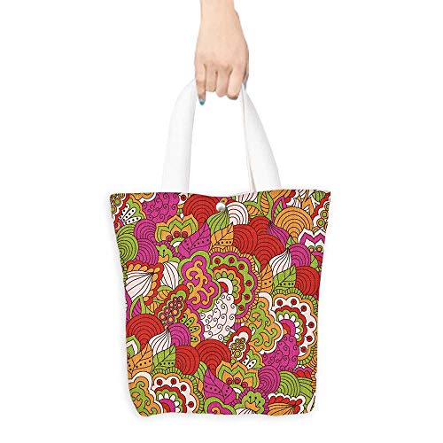 Reusable Shopping Bag Hand drawn seamless pattern with floral elements Colorful background Pattern can be used for fabric wallpaper or wrapping (W15.75 x L17.71 Inch)