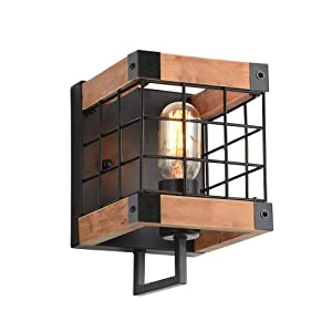 Anmytek Cube Wood Wall Lamp with Iron Mesh Cover Industrial Wall Sconce, Vintage Stylish Bathroom Lighting Log Cabin Home Retro Edison Sconce Lighting Fixtures 1-Light, Brown(W0043)