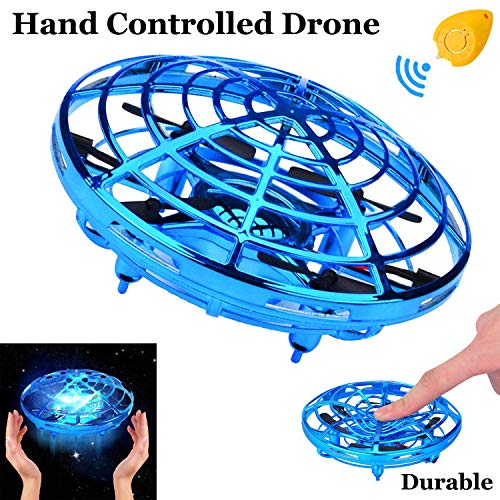 Flying Ball Mini Drone for Kids Toy, Hand Controlled Drone Quadcopter with LED Light 360°Rotating Auto-Avoid Obstacles RC Helicopter UFO Flying Toys Indoor Outdoor for Boys Girls Holiday Birthday Gift