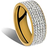 Unisex CZ Stainless Steel Ring Men/Womens Wedding Band Rings Gold Silver Sz8-10#by pimchanok shop (10, Gold)