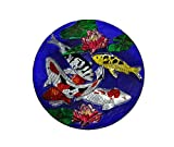 Continental Art Center Koi Fish with Blue Background Glass Plate, 18-Inch
