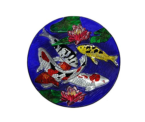 Feeder Display Stake (Continental Art CAC3000950 18'' Hand Painted Koi Fish Glass Bowl Bird Bath/Feeder, Fountain, Decorative Plate)