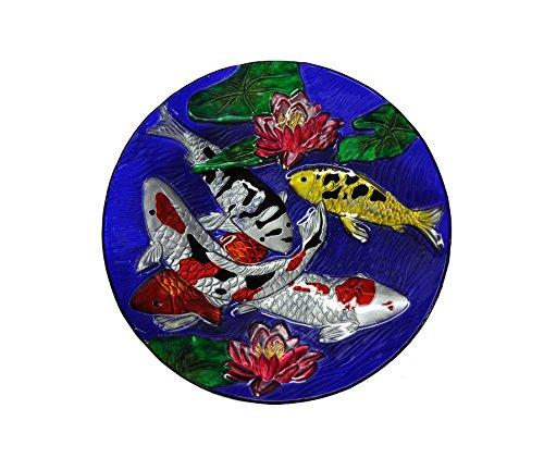 Continental Art CAC3000950 18'' Hand Painted Koi Fish Glass Bowl Bird Bath/Feeder, Fountain, Decorative Plate