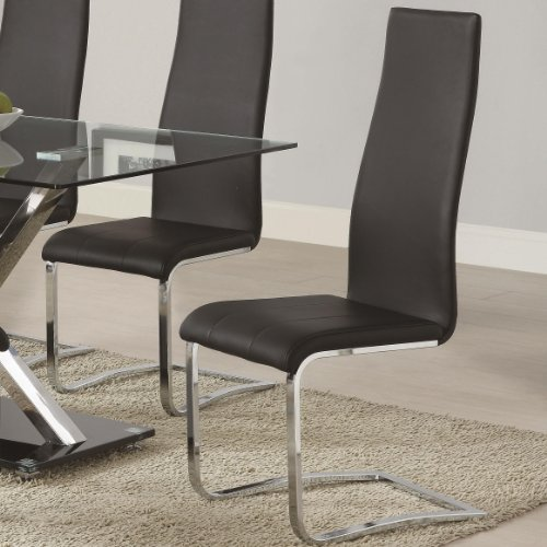 Coaster 100515BLK Dining Leather Chrome