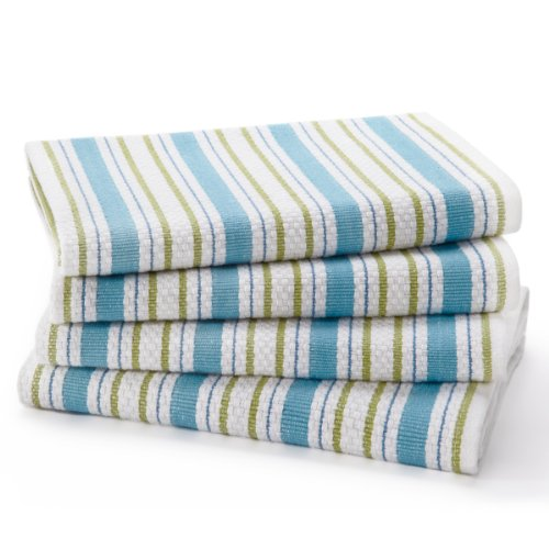 Cotton Craft - 4 Pack Oversized Kitchen Towels, 20x30 - Periwinkle, Pure 100% Cotton, Crisp Basket weave striped pattern, Convenient hanging loop - Highly absorbent, Professional Grade, Soft yet Sturdy