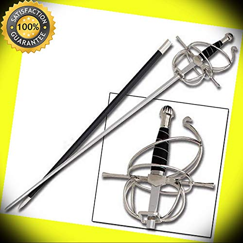 Renaissance Rapier Swept Hilt Spiral Medieval Fencing Re-enactment Sword perfect for cosplay outdoor camping