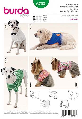 Burda Pets Easy Sewing Pattern 6753 Dog Coats In 5 Styles Amazon Co