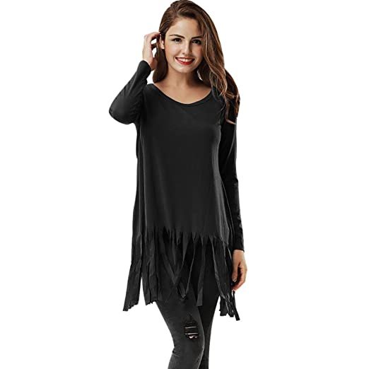 3eb91a83 TOPUNDER Tops Womens, Long Sleeve Tassel O Neck Shirt Casual Blouse Loose  Cotton T-