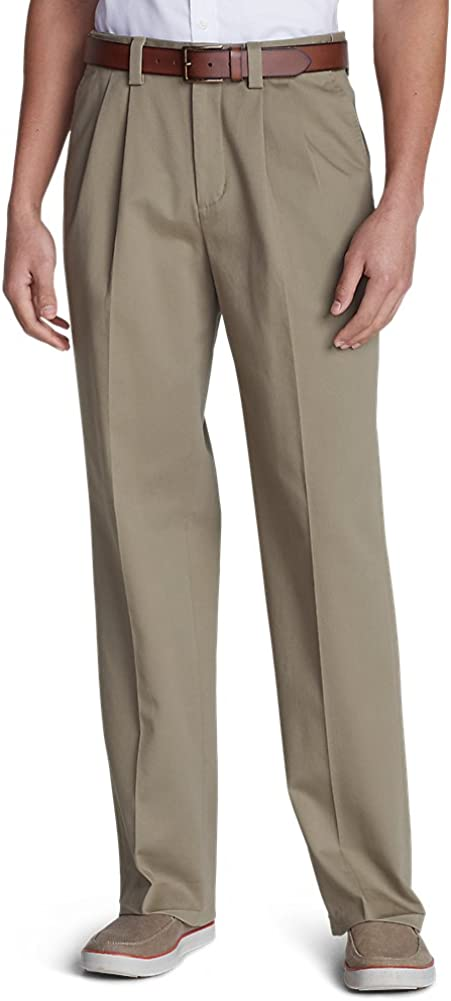 Eddie Bauer Mens Wrinkle-Free Relaxed Fit Comfort Waist Casual Performance Chin