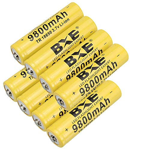 Rechargeable Battery(Button Top),8 Pack 9800mAh 3.7V Li-ion 18650 Battery(not AA/AAA Battery) for Led Flashlight