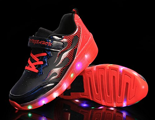 Mr.Ang con Luces LED Coloridos Parpadeante Neutra ruedas de Patines de Rueda Patín Zapatos Zapatos del Patín Zapatos Deportivos Niños y Niñas de Calzado Deportivo Zapatos de Skate K06 Negro Rojo