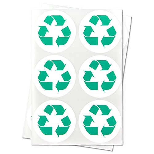 Recycle Logo Recycling Circle with Arrows Symbol Labels Round Self Adhesive Stickers (Green White / 1