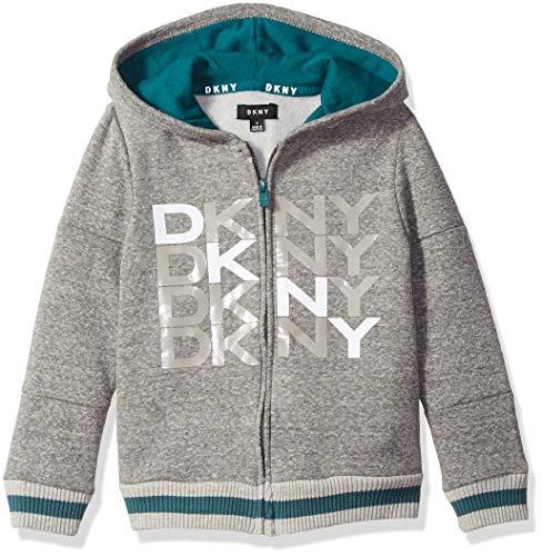 DKNY Boys Zip Front Snow Marled Fleece Hoody