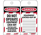 LOTAG11ST250 Polytag National Marker Tags, Lockout, Danger Do Not Operate Equipment Lock-Out, 6 Inches x 3 Inches, Polytag, Box of 250