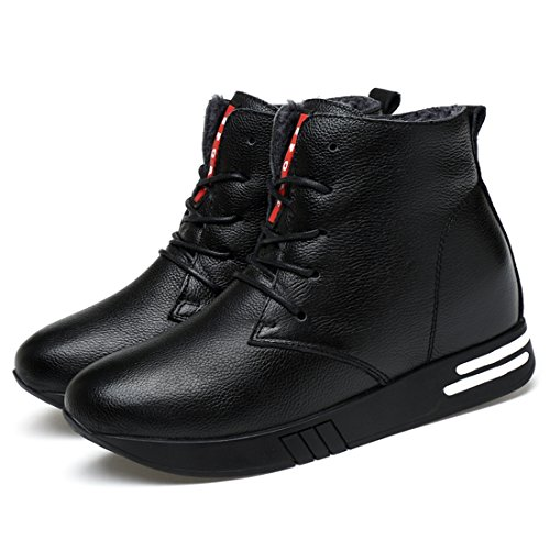 Minitoo Womens Cap-Toe Lace-Up Fashion Ankle Boots Fur Lined/Black