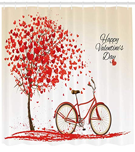 Ambesonne Valentines Day Shower Curtain, Romantic Tree with Blooming Hearts with Bike and Petals Vintage Artwork, Cloth Fabric Bathroom Decor Set with Hooks, 70