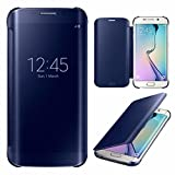 Zocardo Premium Glossy Mirror Flip Case Cover for Samsung Galaxy C7 Pro - Blue - Smart Date/Time View, Classy Cover