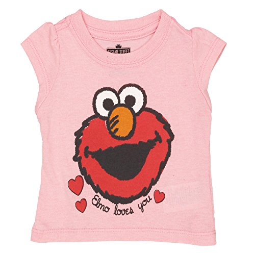 Sesame Street Girls Short Sleeve Tee (12 Months, Elmo Love Pink)