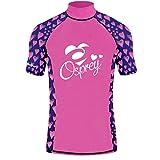 Osprey Girl's Short Sleeve Heart Rash Vest Top, UPF 50+ Quick Dry Flatlock Stretch Child's Rash Guard, Pink, 2X-Small