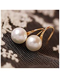 Dainty 14K Gold Large Pearl Dangle Hoop Thread Earrings for Grandmother Women Girls Gift