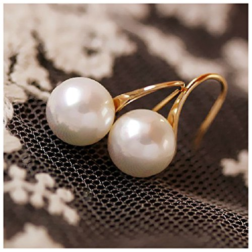 e Pearl Dangle Hoop Thread Earrings for Grandmother Women Girls Gift (Pearl Drop Hoop)