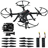 MJX Bugs3 Quadcopter Drone with Brushless Motor, 1080p High definition Action Camera, Smart Transmitter Alarm, Two Batteries, Two Extra Sets of Improved Propellers, Gimbal Mount, Black