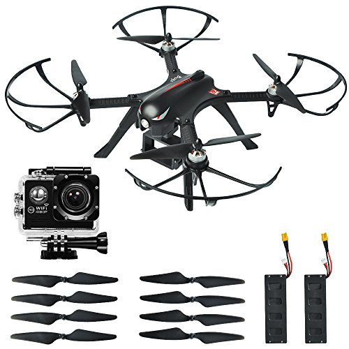MYSTERYSTONE-RC-Quadcopter-Drone-Bugs3-with-BRUSHLESS-MOTOR-1080p-High-definition-Action-Camera-Smart-Transmitter-Alarm-Two-Batteries-Two-Extra-Sets-of-Improved-Propellers-Gimbal-Mount-Black