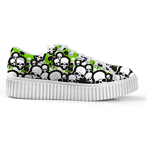Platform Print Stylish Loafer HUGSIDEA Skull Toe US10 Green Lace Teen Flats Round for Sneakers Up Boys zq0dq