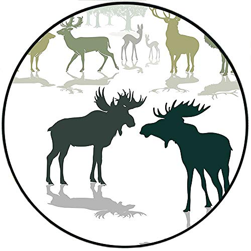 - Short Plush Modern Round Carpet mat Elk Deer and Fawn Silhouette Forest at The Background World Natural Heritage Deco Green Black Bedroom Bedside Kitchen Bedroom 63