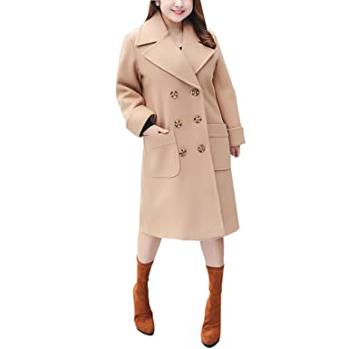 Zhhlinyuan Manteau de Femme de Conception de Mode Casual Double Breasted  Coat Women Lapel Trench Pea 52c35a38464