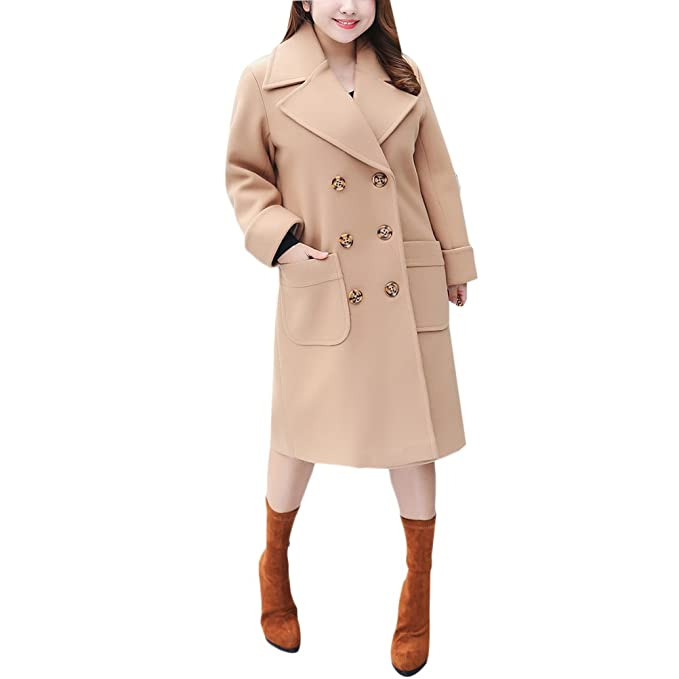 Zhhlinyuan Diseño de Moda Abrigos para Mujer Casual Double Breasted Coat Women Lapel Trench Pea Coats