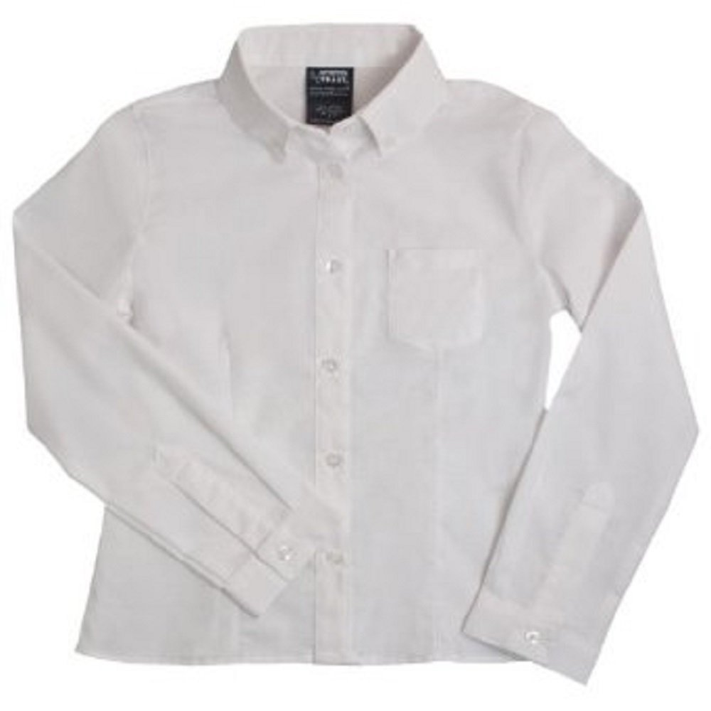 French Toast Girls' Long Sleeve Button Down Oxford White) E9287-A