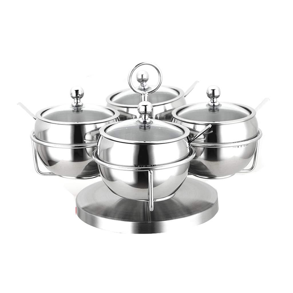 ZFDM Household Stainless Steel Sauce Jar Kitchen Salt Sugar Cans Chili Oil Jar Spice Bottle Combination