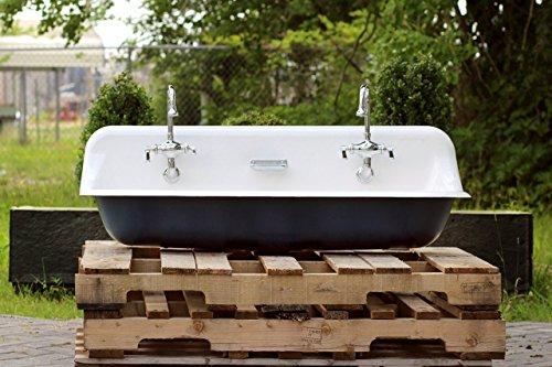 """Large 48"""" Antique Inspired Kohler Farm Sink Hague Blue Cast Iron Porcelain Trough Sink Package"""