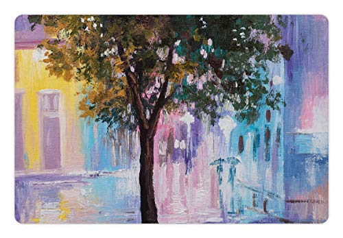 Lunarable Romantic Pet Mat for Food and Water, Abstract Impressionism Themed Oil Painting of Vivid Urban Street and Tree, Rectangle Non-Slip Rubber Mat for Dogs and Cats, Multicolor