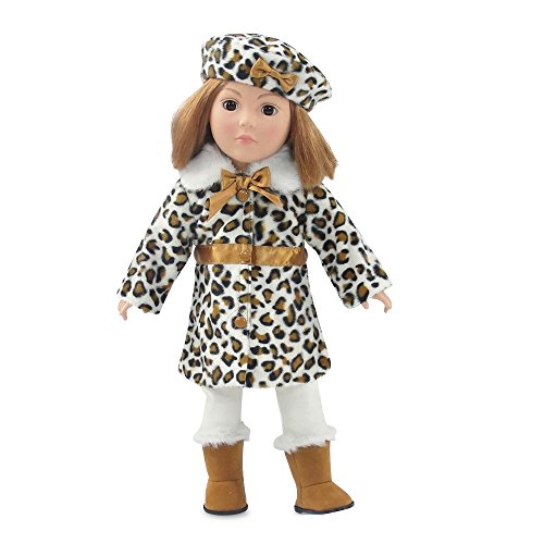- 18 Inch Doll Clothes | Chic 5-Piece Faux Leopard Coat Jacket Outfit, Including Matching Beret Style Hat, Long-Sleeved Mock Turtleneck, Leggings and Faux Suede Faux Fur Boots | Fits American Girl Dolls
