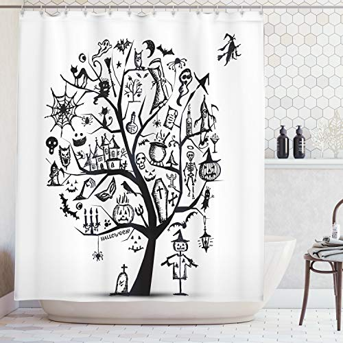 Ambesonne Halloween Decorations Shower Curtain Set, Sketch Style