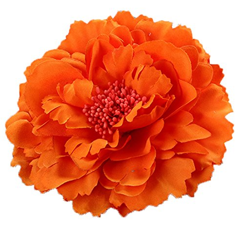 Floral Fall Peony Flower Hair Clip Flamenco Dancer Pin up Flower Brooch HC-01 (Orange) ()