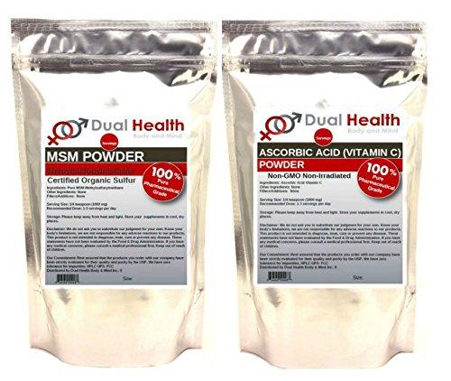 1 BAG OF EACH (2000 grams (4.4 lb)) Ascorbic Acid Vitamin C & MSM Methylsulfonylmethane Powder Combo by Dual Health Body & Mind
