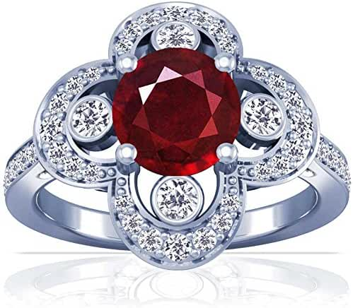 Platinum Round Cut Ruby Ring With Sidestones (GIA Certificate)